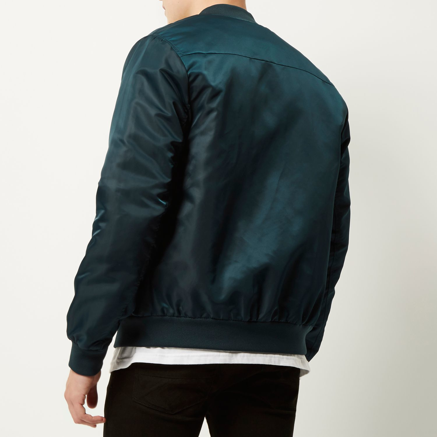 River island Dark Green Casual Bomber Jacket in Blue for Men | Lyst