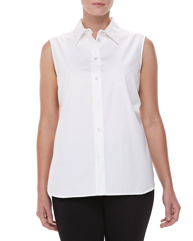 michael kors sleeveless poplin top white in white lyst. Black Bedroom Furniture Sets. Home Design Ideas