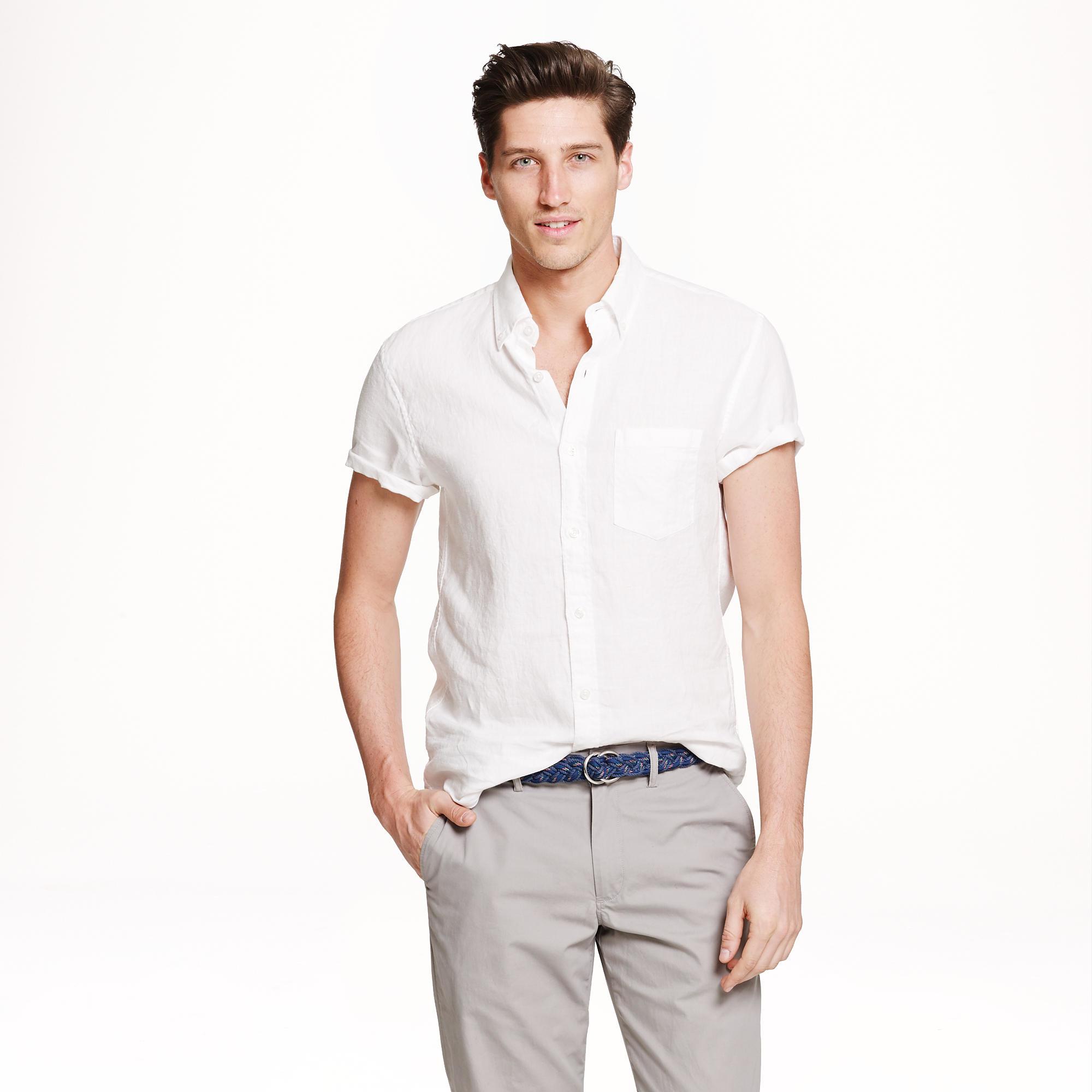 Short sleeve irish linen shirt in white for men lyst for Irish linen dress shirts