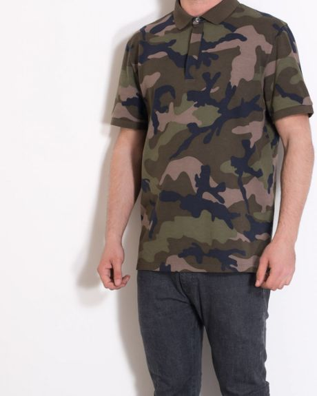 Valentino camouflage print piqu cotton polo shirt in for Camo polo shirts for men