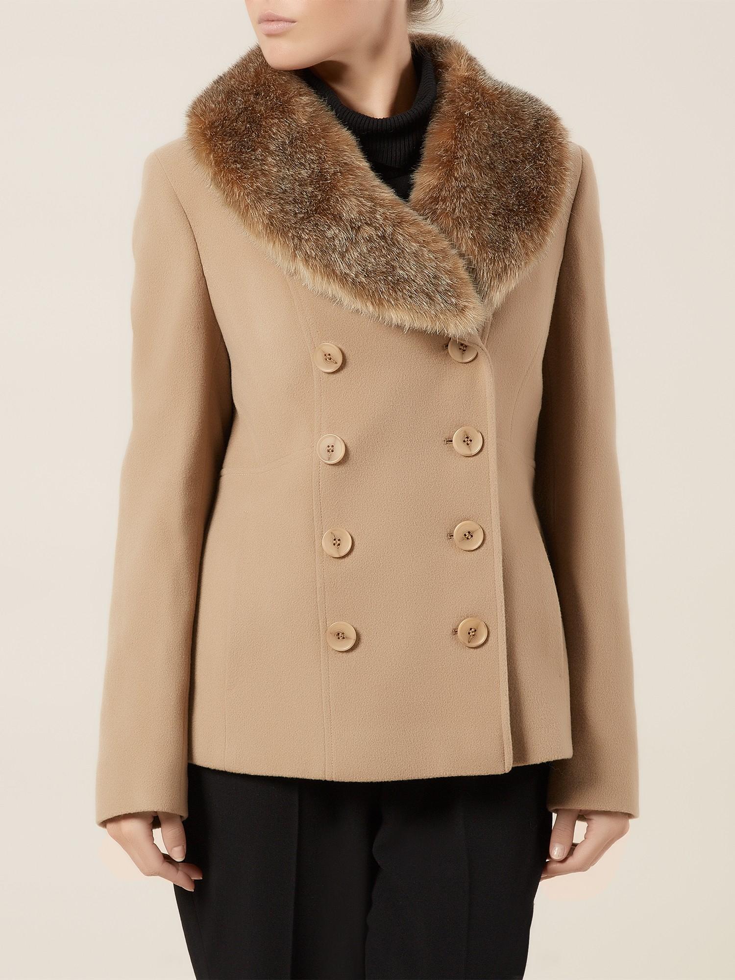 precis petite short camel fur collar coat in beige camel lyst. Black Bedroom Furniture Sets. Home Design Ideas