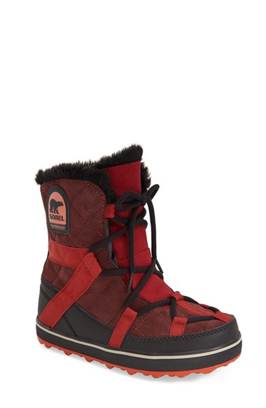 Lyst Sorel Glacy Explorer Short Boot In Red