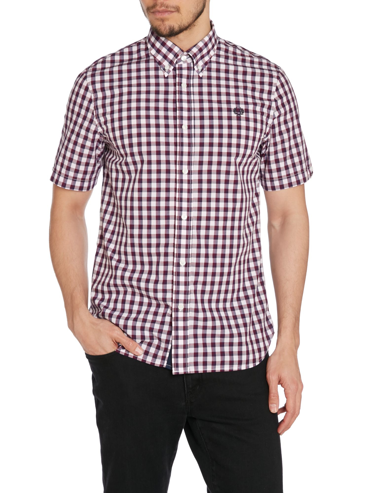 Fred perry pastel gingham classic fit short sleeve shirt for Men s purple gingham shirt