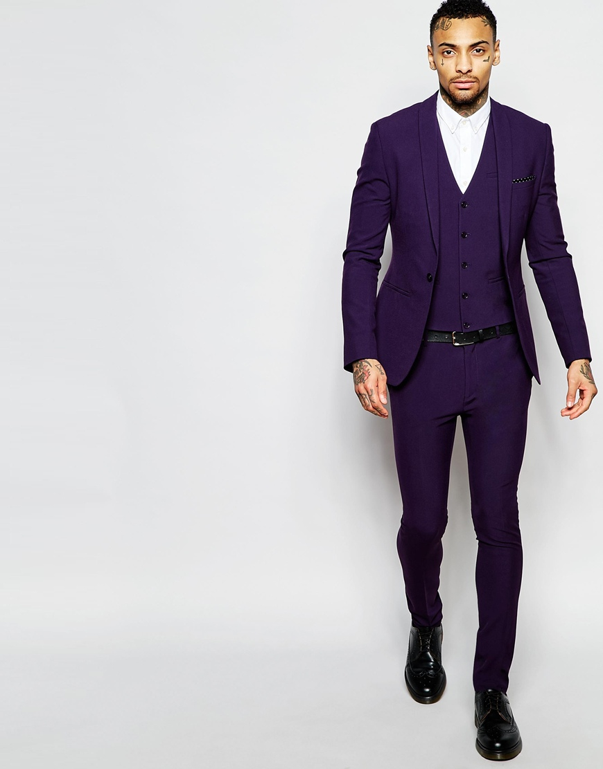 Asos Super Skinny Suit Pants In Purple in Purple for Men | Lyst