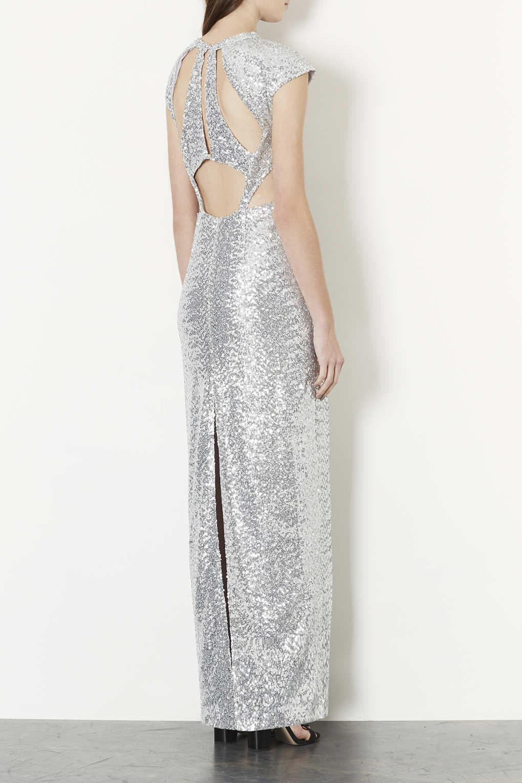 Lyst Topshop Sequin Cut Out Back Maxi Dress In Metallic