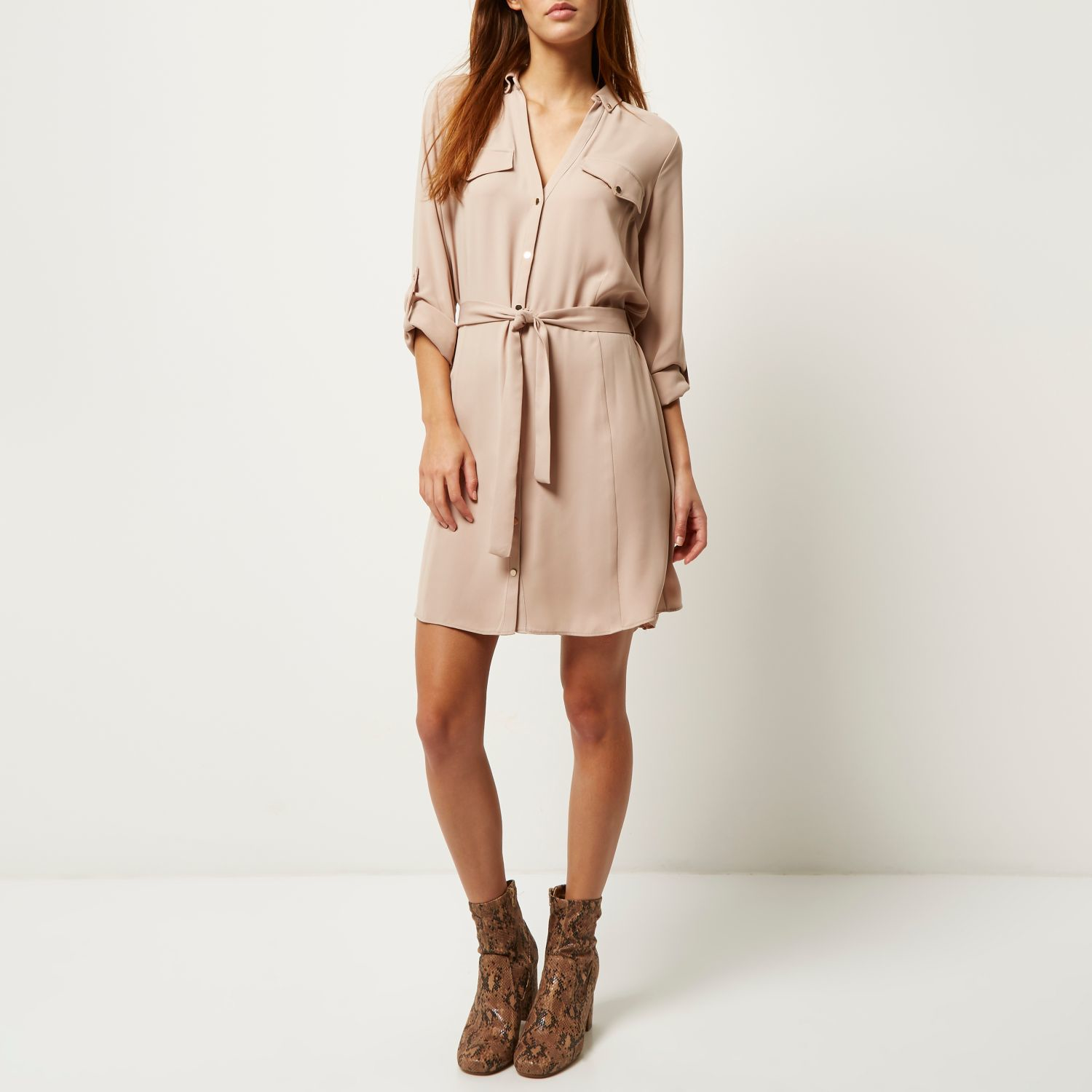 River Island Beige Crepe Military Shirt Dress In Natural
