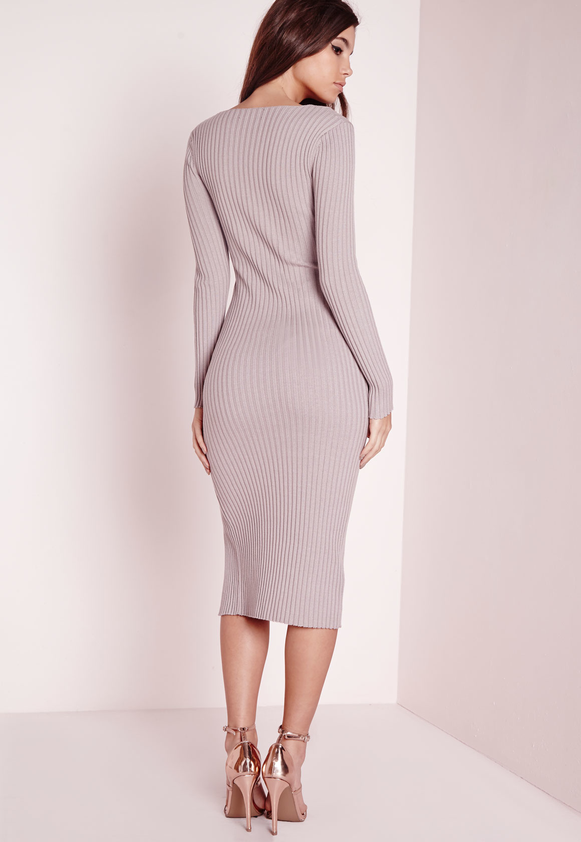 df462b33e953 Lyst - Missguided Long Sleeve Split Knitted Midi Dress Mauve in Gray