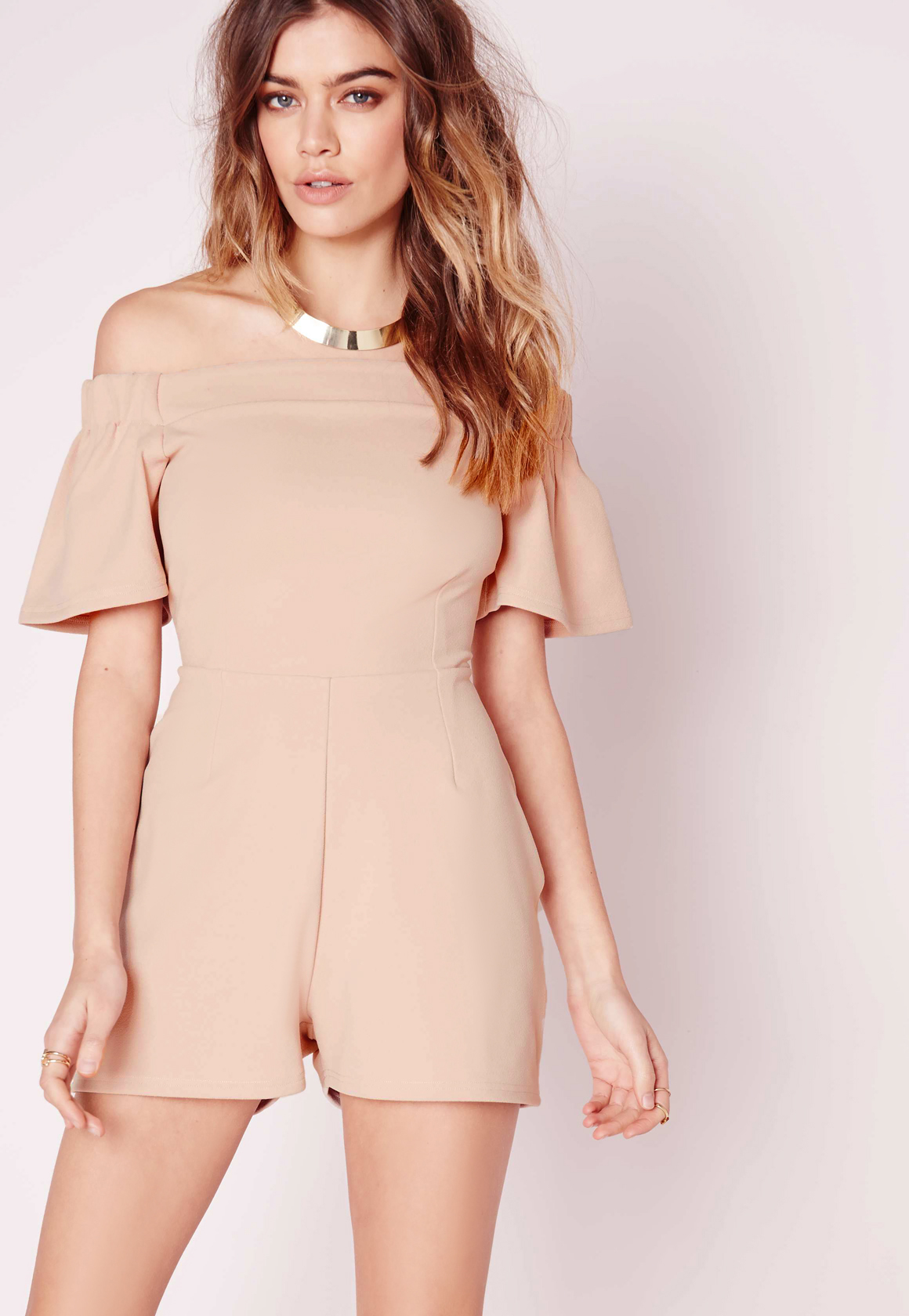 b86c129c5a9 Lyst - Missguided Bardot Frill Playsuit Nude in Natural