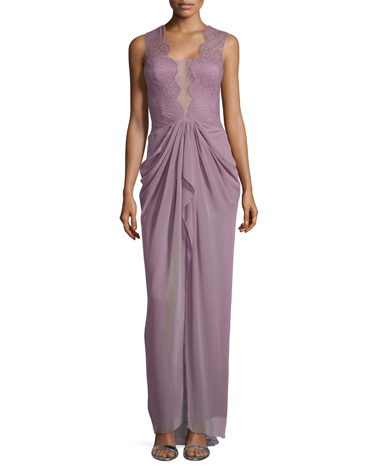 Lyst - Bcbgmaxazria Brandy Sleeveless Lace Illusion Gown in Purple