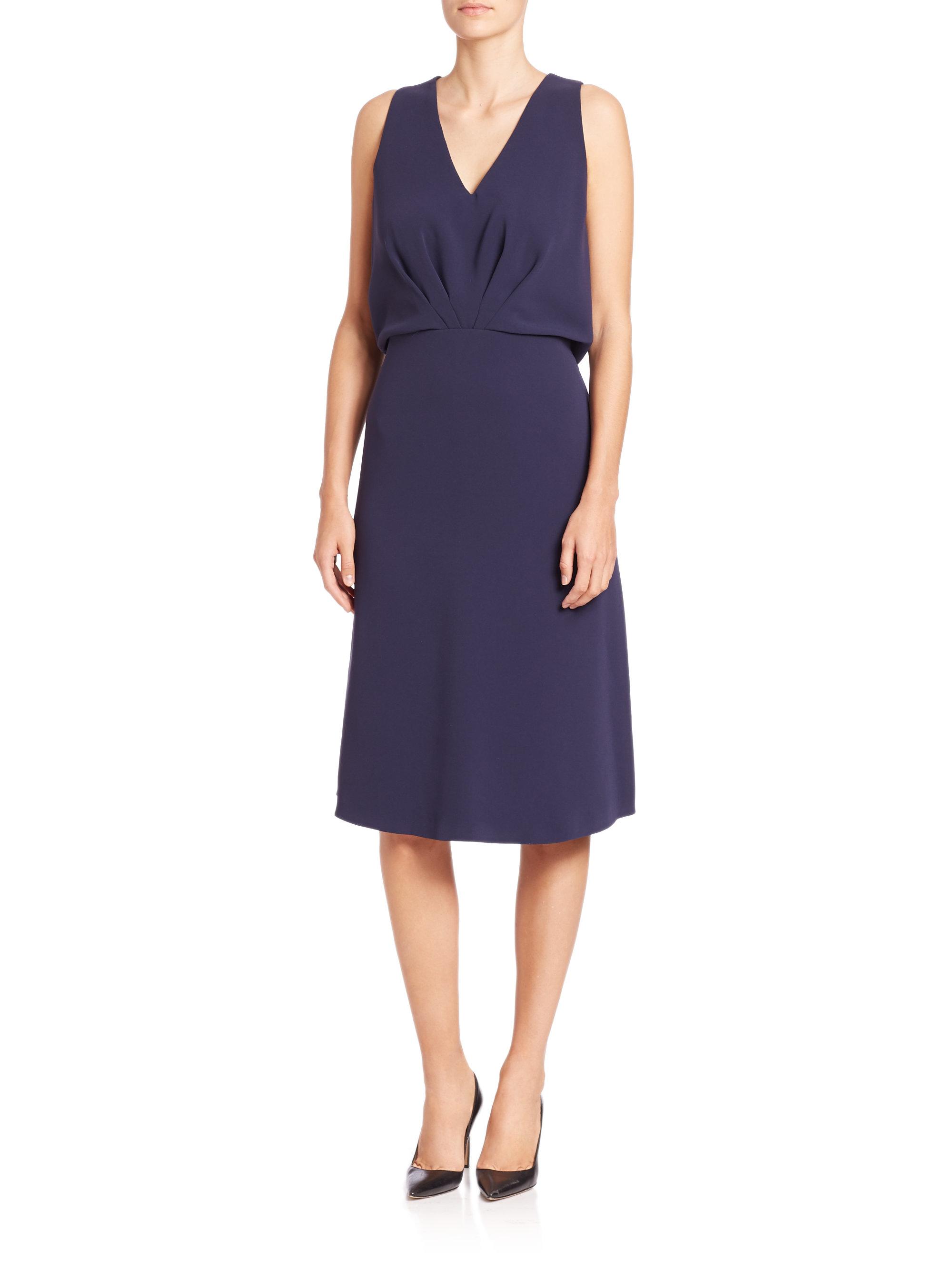 Lyst Max Mara Giove Sleeveless Silk Dress In Blue