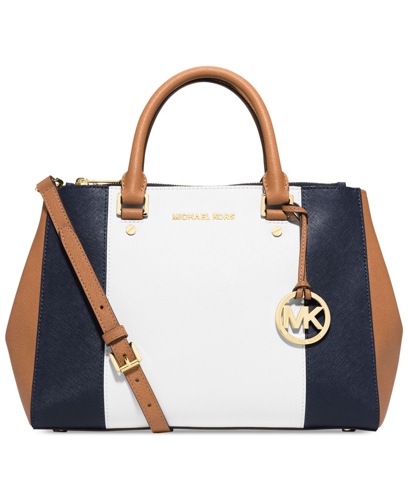 711da82c54 ... new zealand lyst michael kors michael sutton center stripe medium  satchel in white 48550 36332