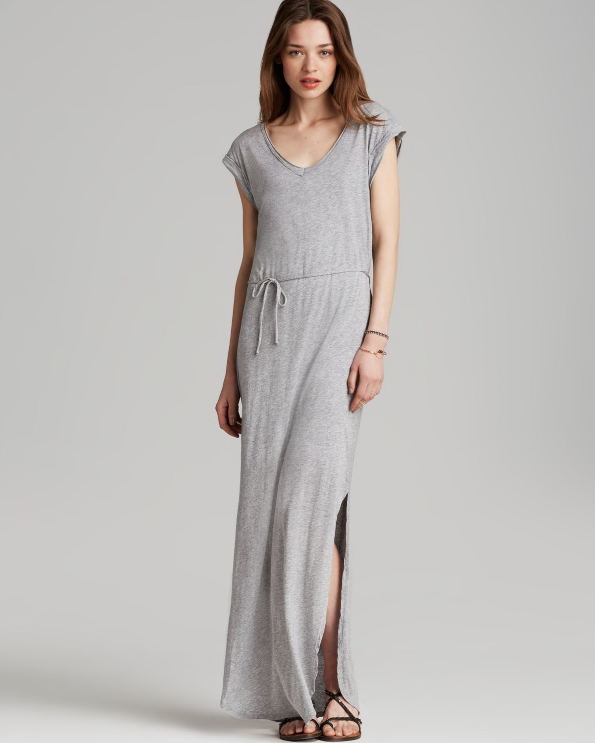 Splendid Maxi Dress - V Neck in Gray | Lyst