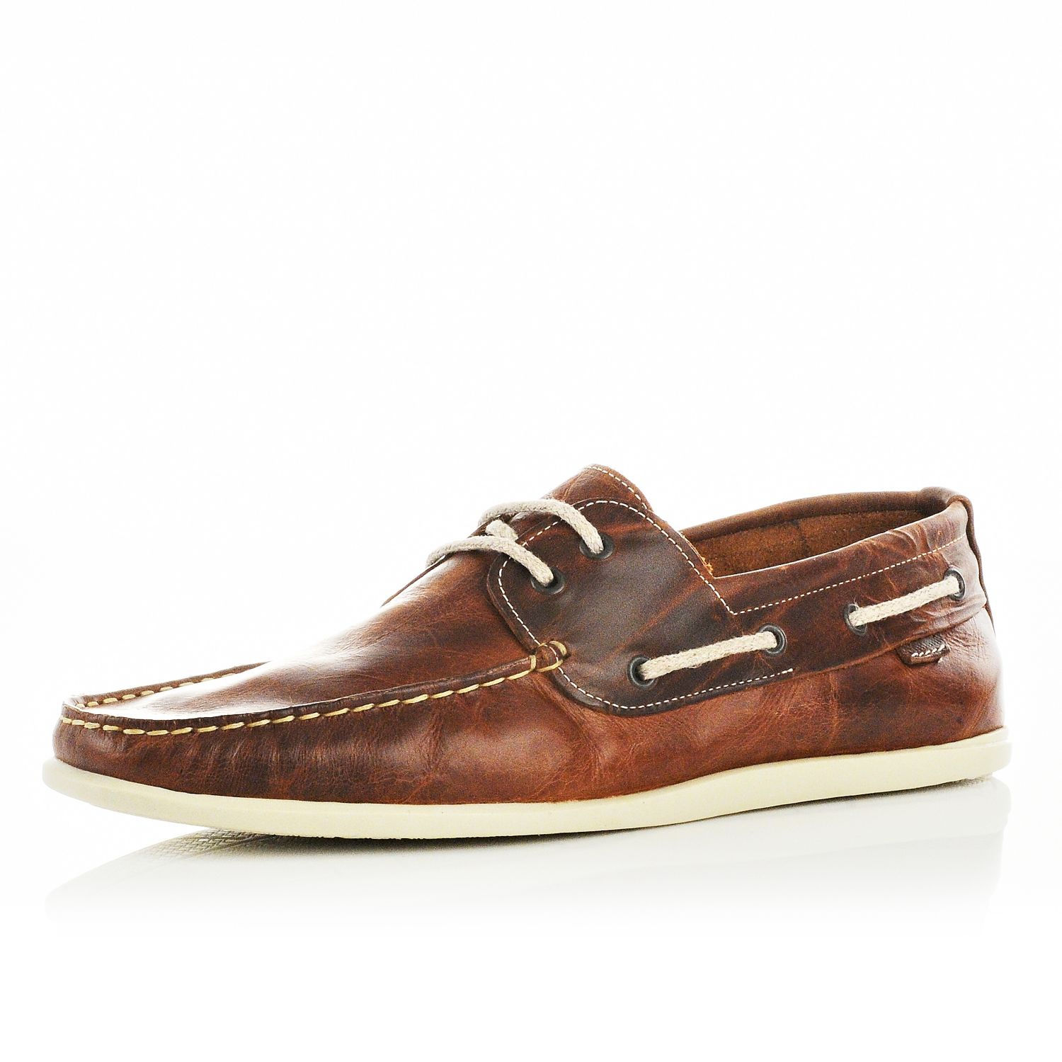 buy online with paypal 2014 newest for sale River Island Leather Boat Shoe In Tan excellent cheap online for nice MfMGSbZH