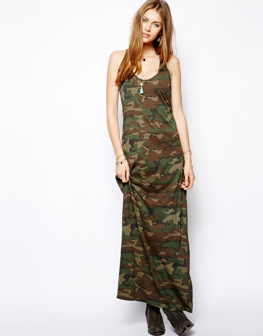 Camo print maxi dress