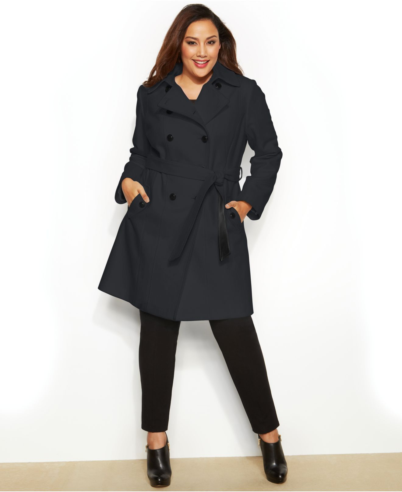 57c16488ead39 Lyst - DKNY Plus Size Double-Breasted Faux-Leather-Trim Trench Coat ...