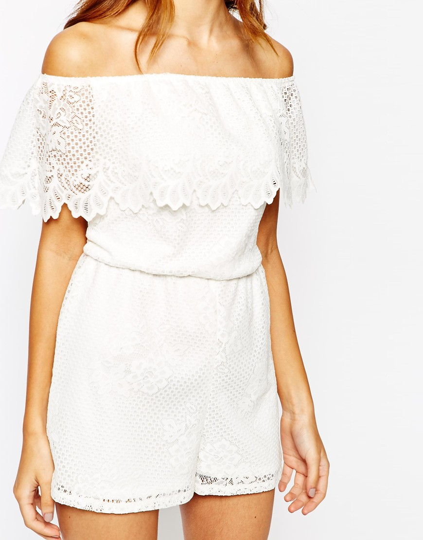 0e4c9fb34a Lyst - Lipsy Michelle Keegan Loves Off Shoulder Lace Romper in White