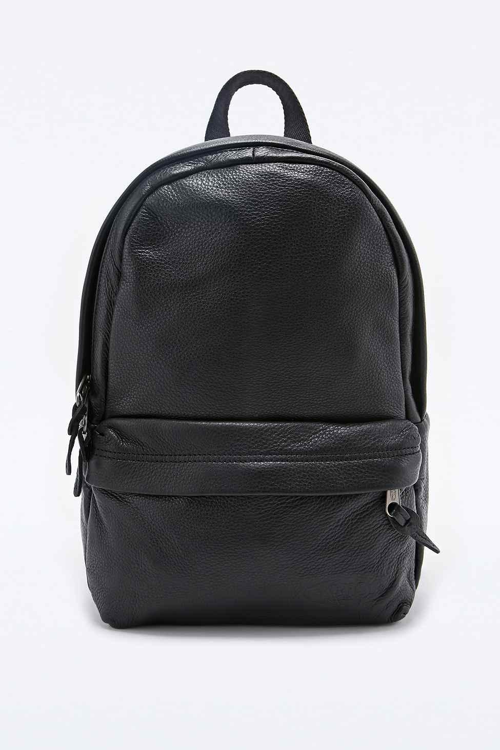 Leather Eastpak Backpack: Eastpak Frick Leather Backpack In Black In Black