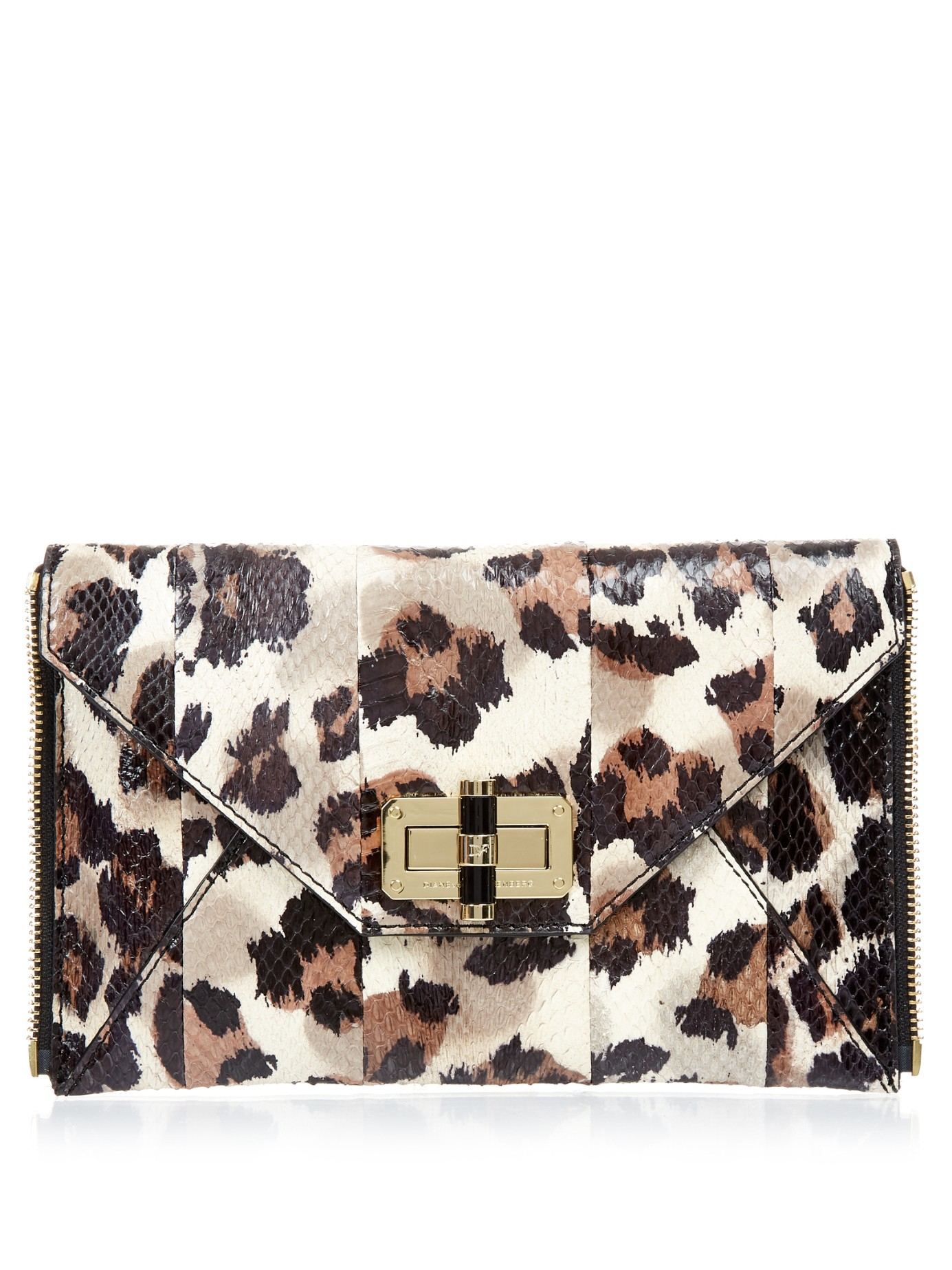 f32fa8171f7e Diane von Furstenberg Secret Agent Clutch Zip-on Clutch in Brown - Lyst