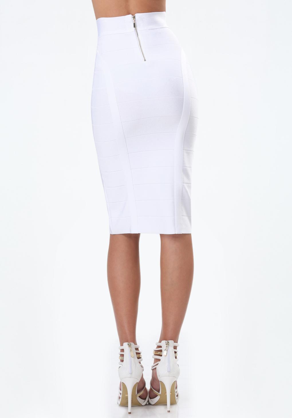 bebe solid bandage midi skirt in white lyst