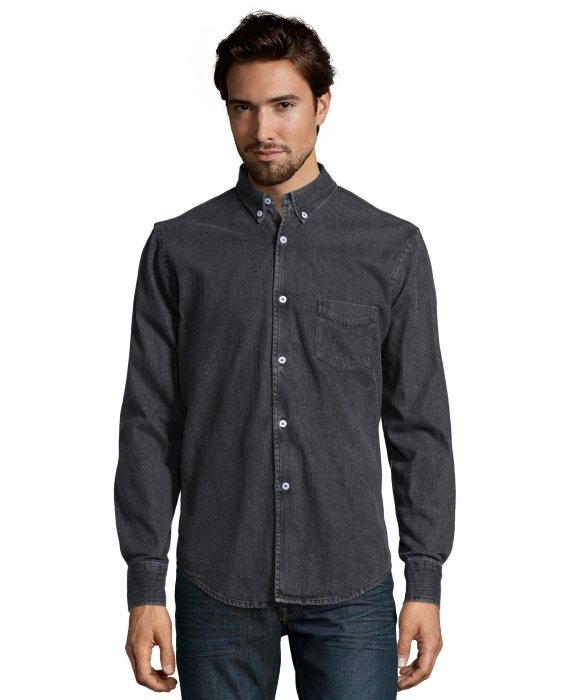Slate And Stone Clothing : Slate stone black denim wesley button down shirt in