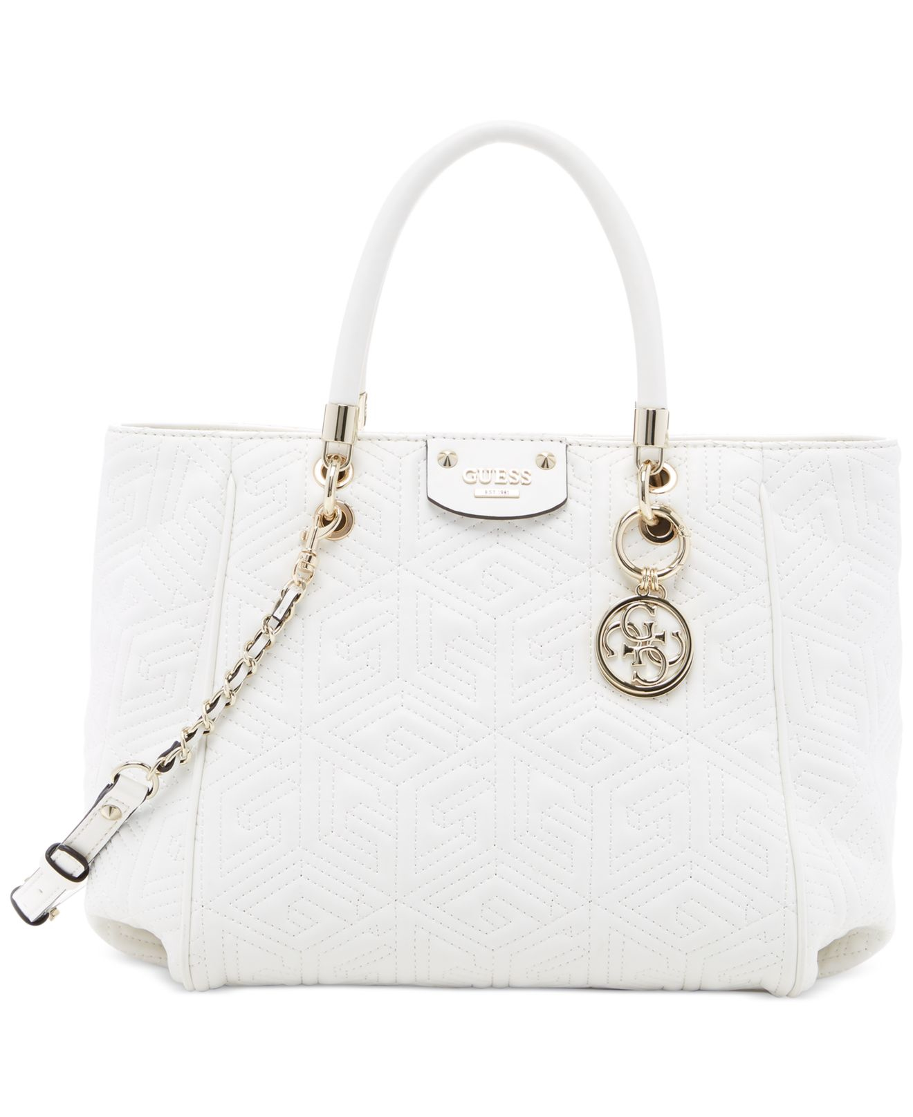 e39a0a7903b4 Lyst - Guess G Cube Abbey Quilted Convertible Shopper in White