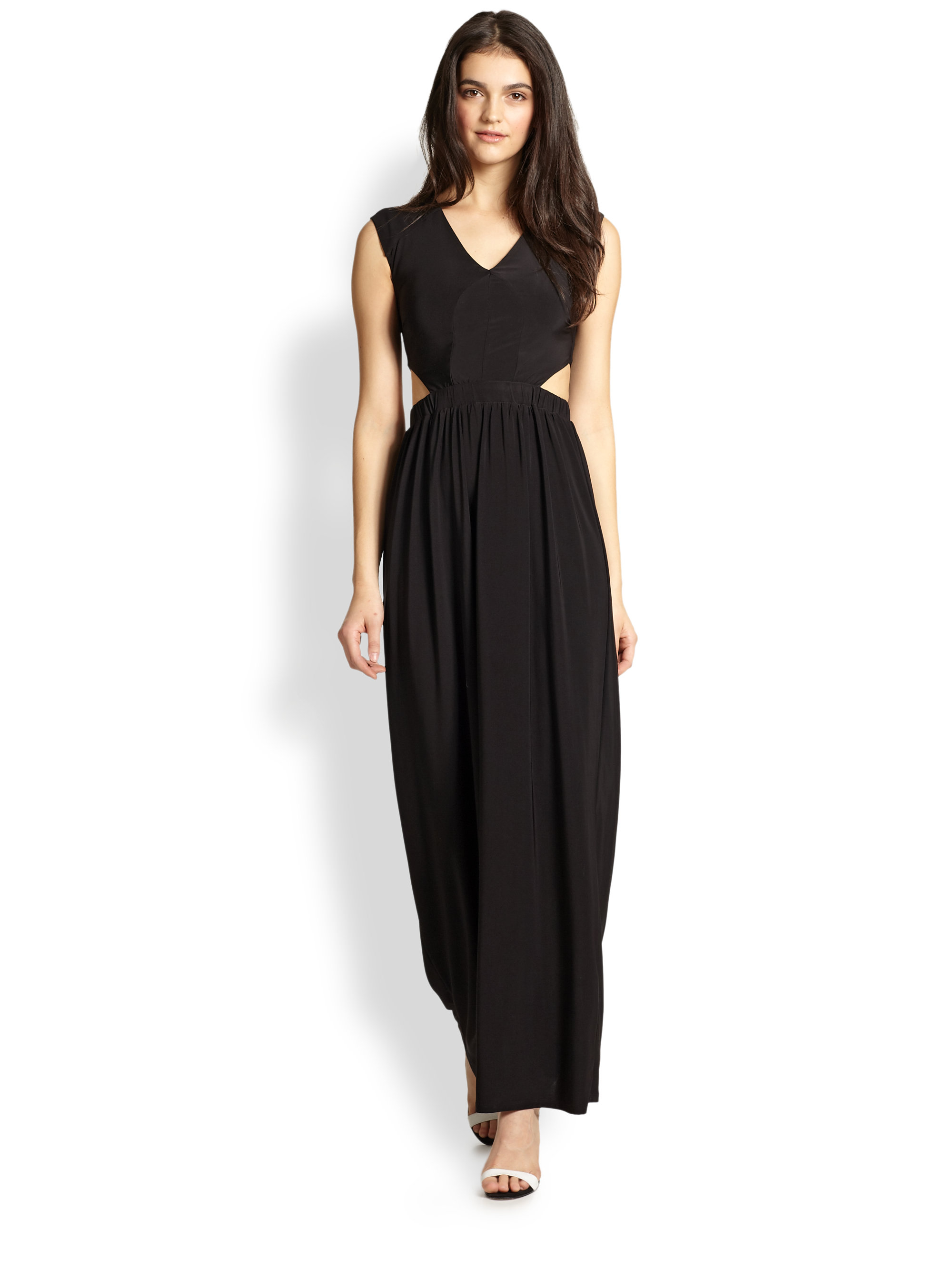 T-bags Cutout-Waist Maxi Dress in Black | Lyst