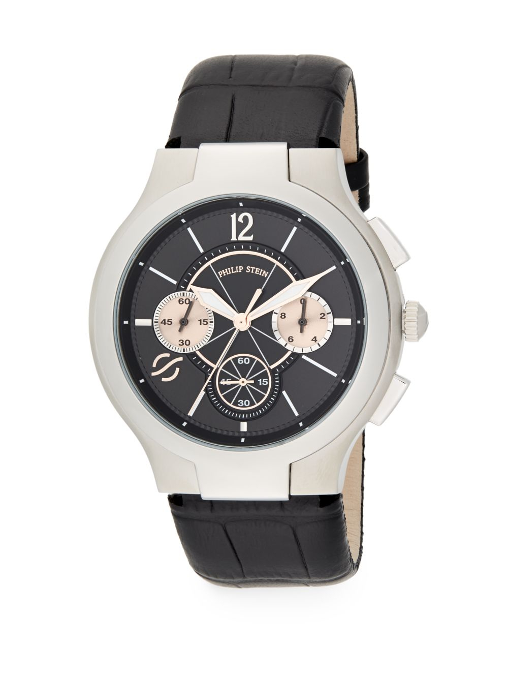 Lyst Philip Stein Stainless Steel Chronograph Watch In