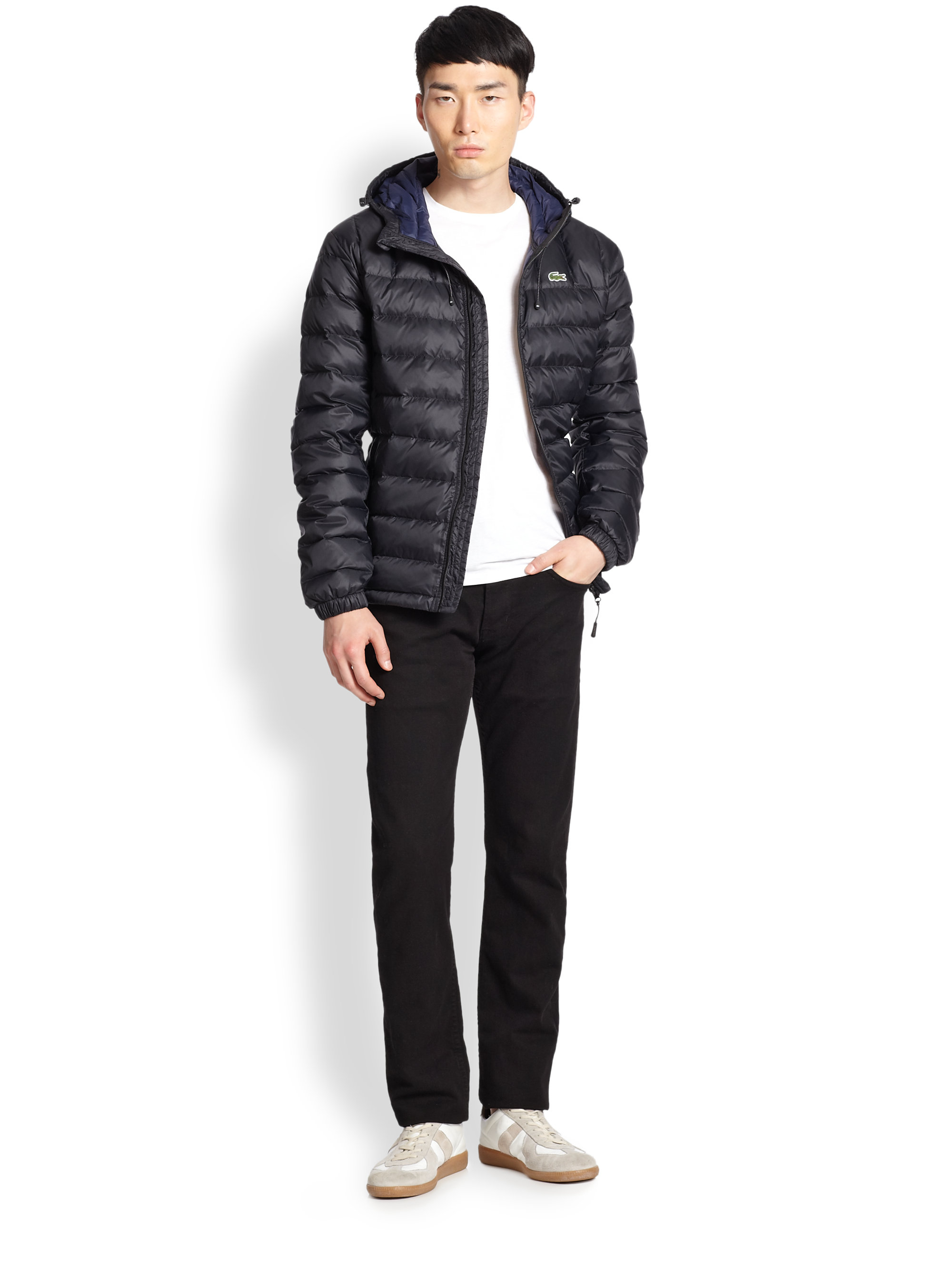 Lacoste Packable Down Jacket In Black For Men Lyst