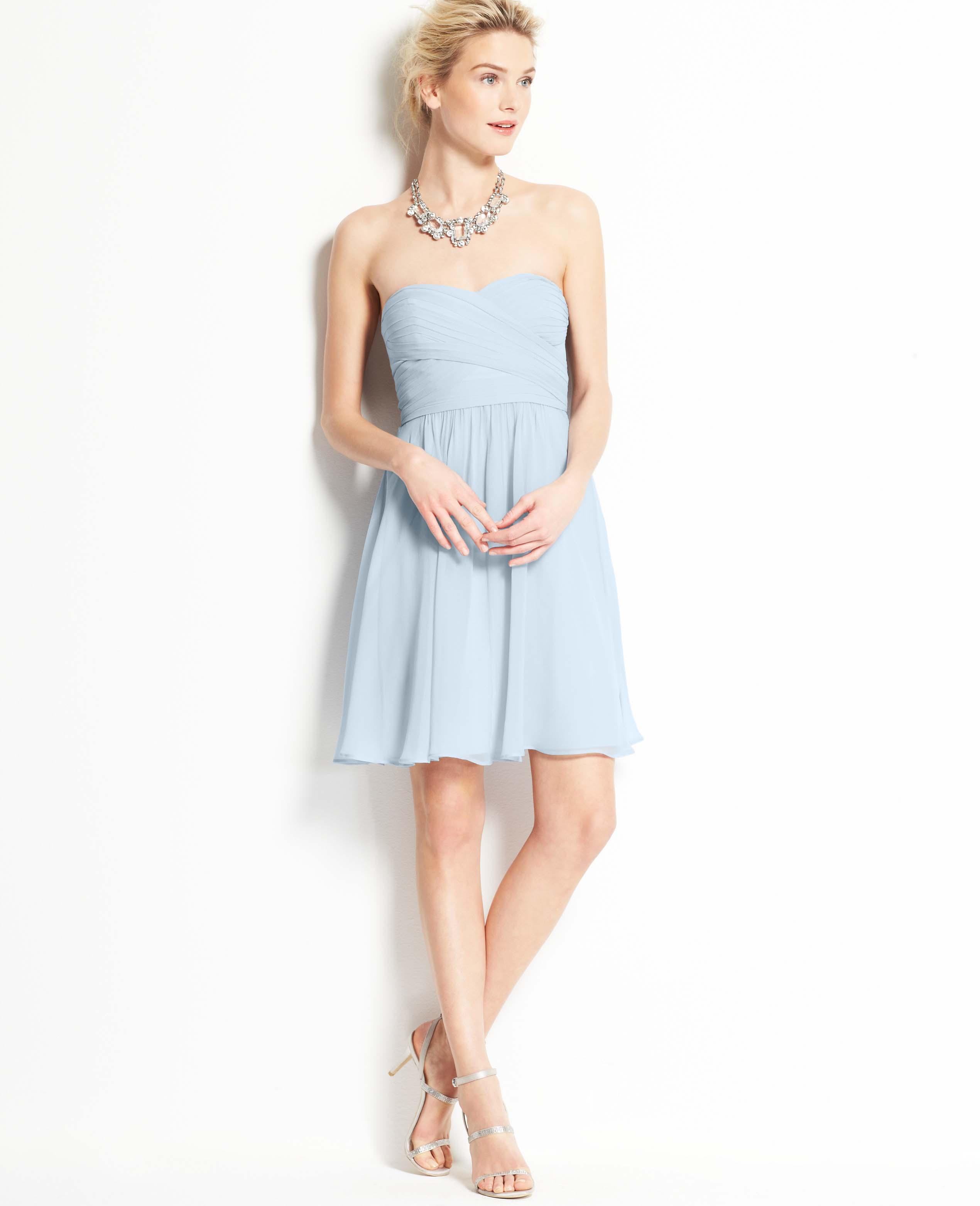 Ann taylor silk georgette strapless dress in blue for Silk georgette wedding dress