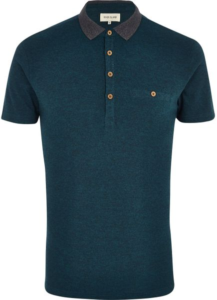 River island teal contrast collar polo shirt in blue for for Mens teal polo shirt