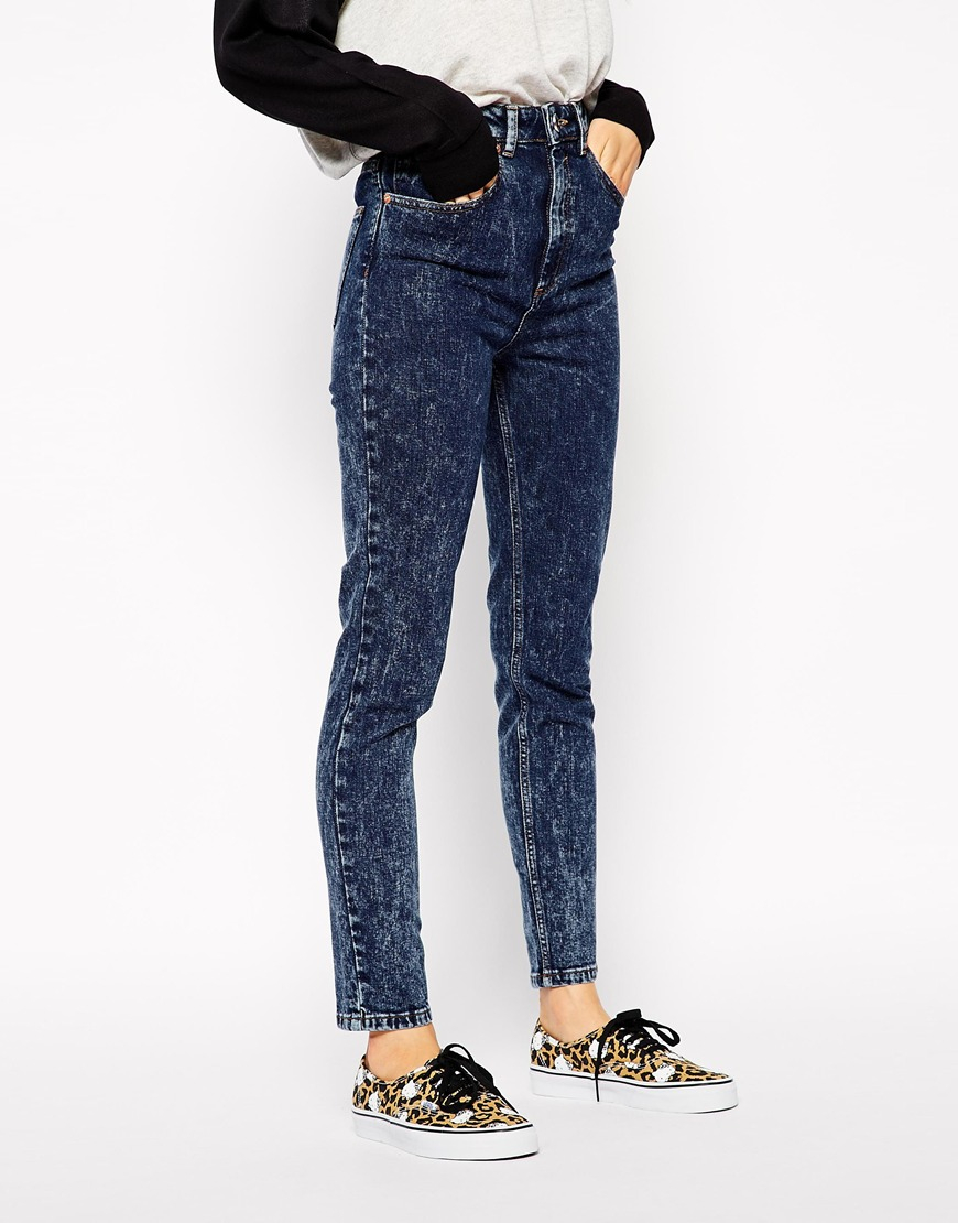 asos farleigh high waist slim mom jeans in indigo snow. Black Bedroom Furniture Sets. Home Design Ideas