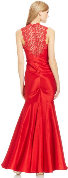 Xscape Sleeveless Glitter Lace Mermaid Gown In Red Cherry