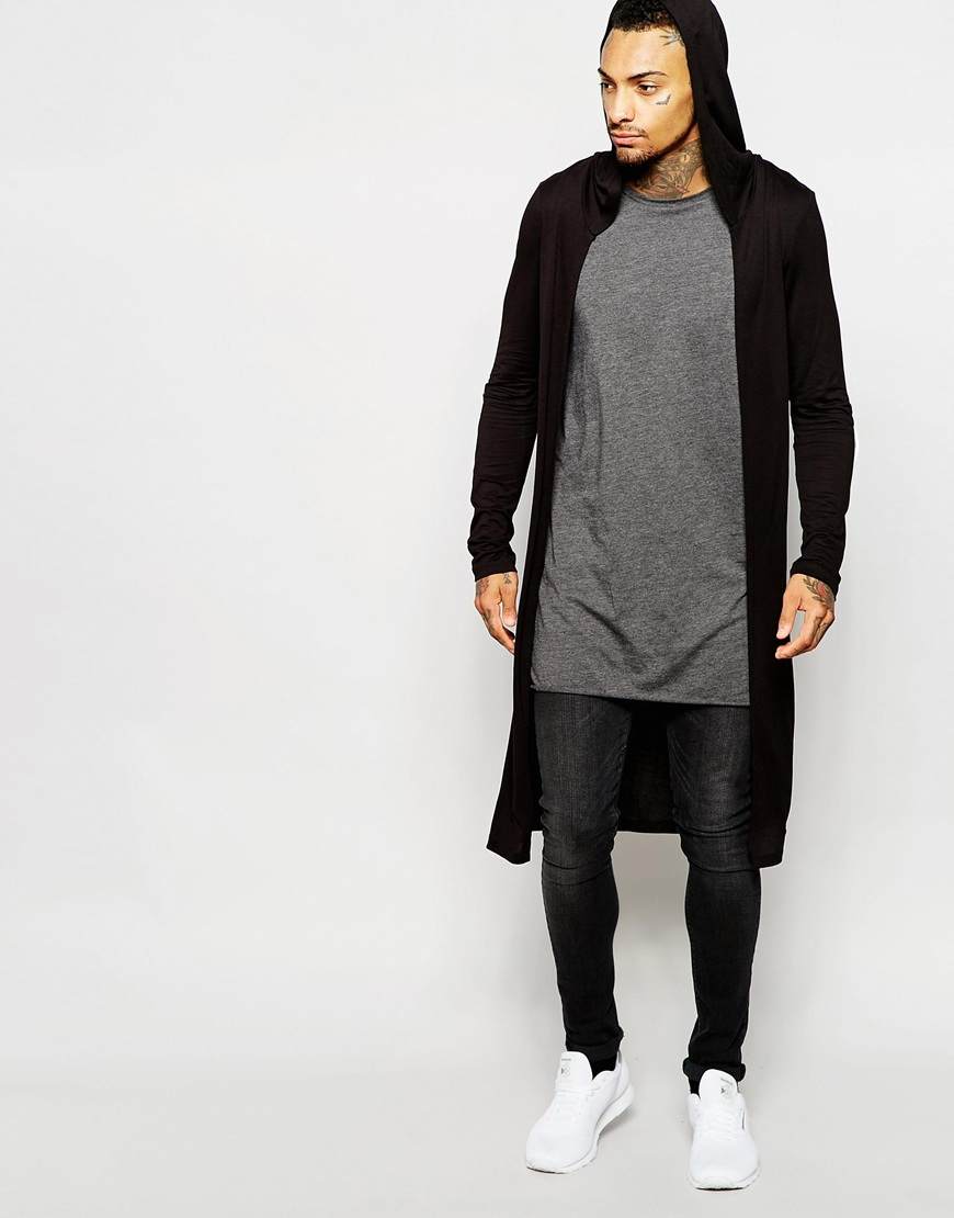 Asos Extreme Longline Long Sleeve T-shirt With Hooded Cardigan ...