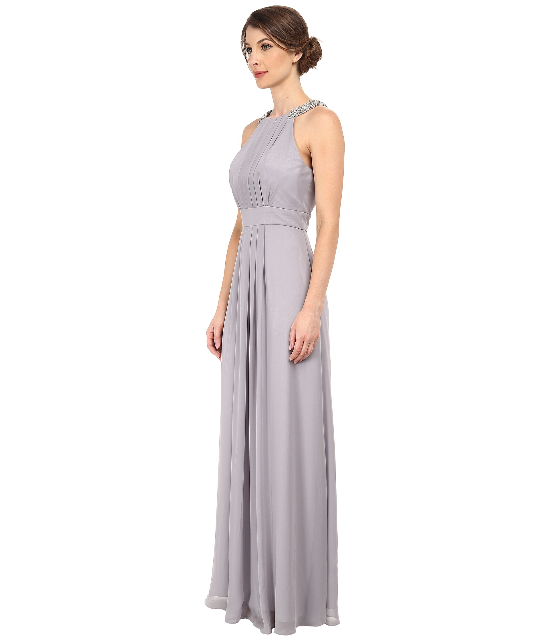 Lyst - Eliza J Chiffon Gown With Beaded Neckband in Metallic