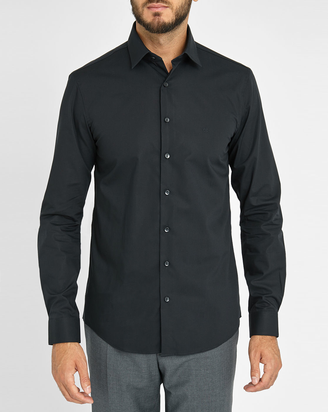 Calvin klein black chest logo stretch poplin fitted shirt for Calvin klein slim fit stretch shirt