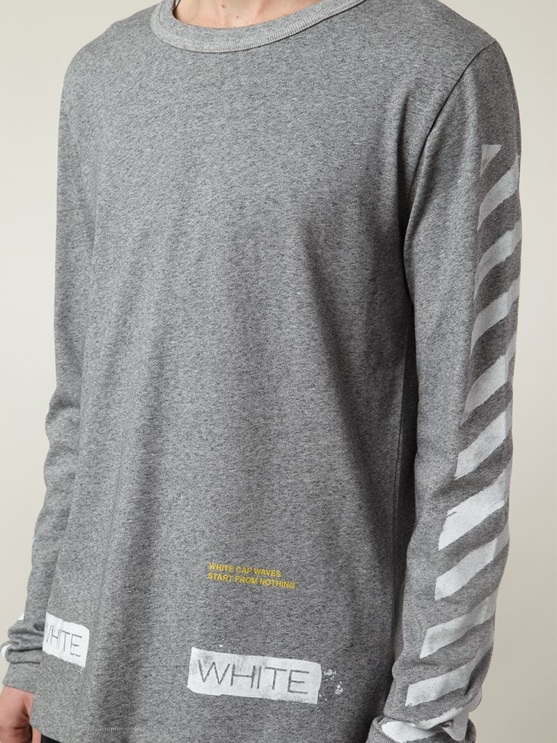 2404acf468e4 Lyst - Off-White c o Virgil Abloh Striped-Sleeved T-Shirt in Gray ...