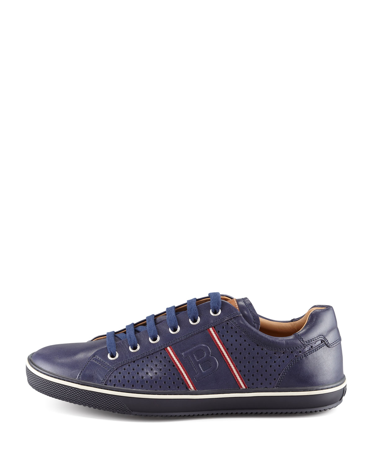 Lyst Bally Perforated Leather Logo Sneaker In Blue For Men
