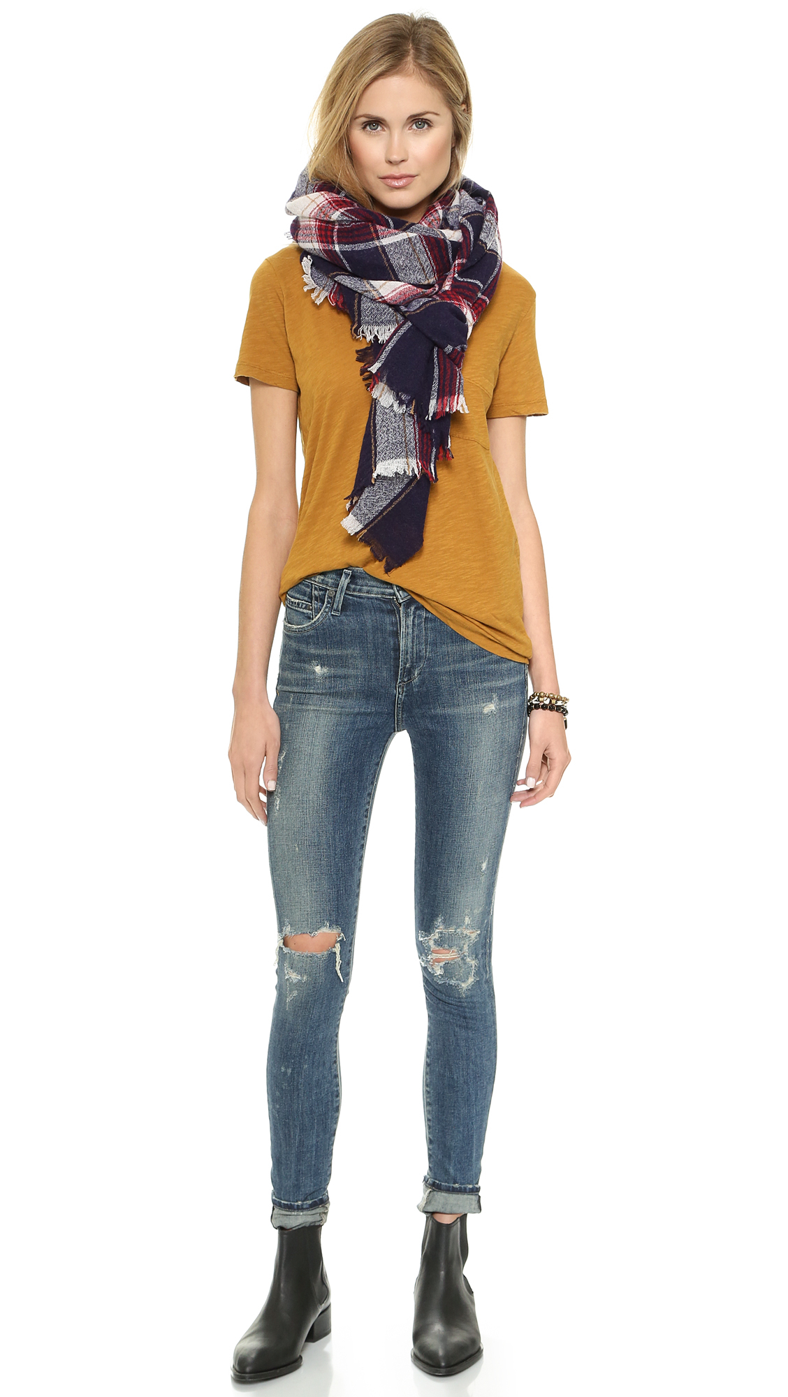 eb5b15b2afc8 Madewell Slub V Neck Pocket Tee - True Black in Yellow - Lyst