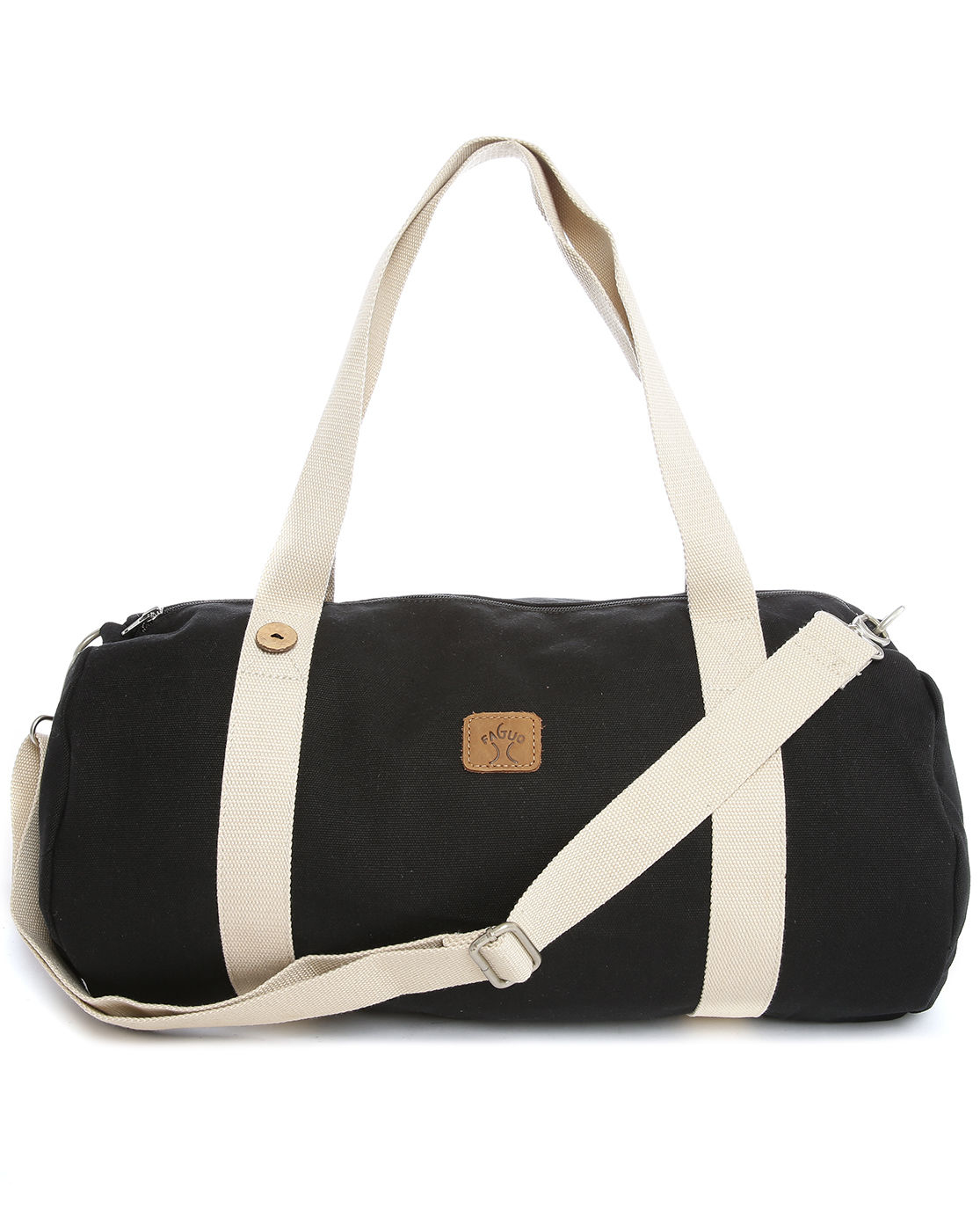 faguo black canvas duffle bag in black for lyst