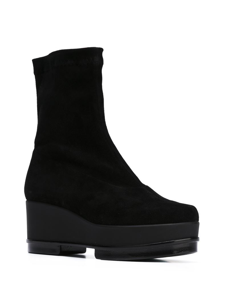 robert clergerie wedge boots in black lyst