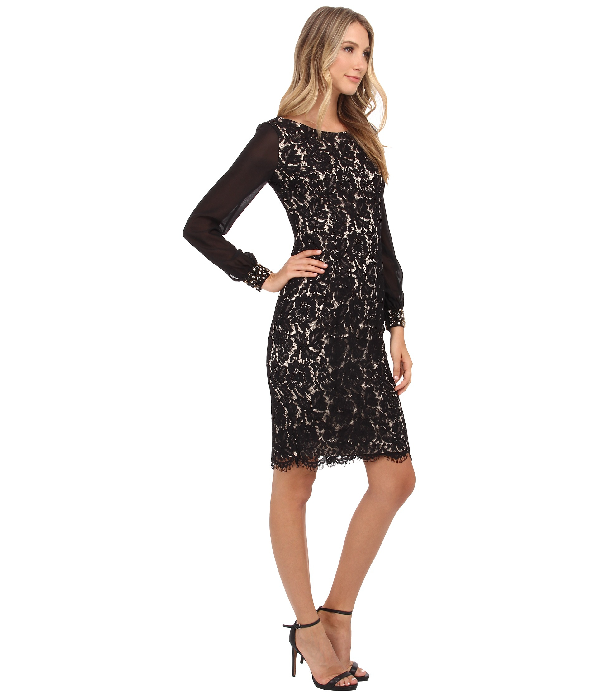 Eliza j Lace Sheath Dress With Chiffon Bell Sleeves in Black | Lyst