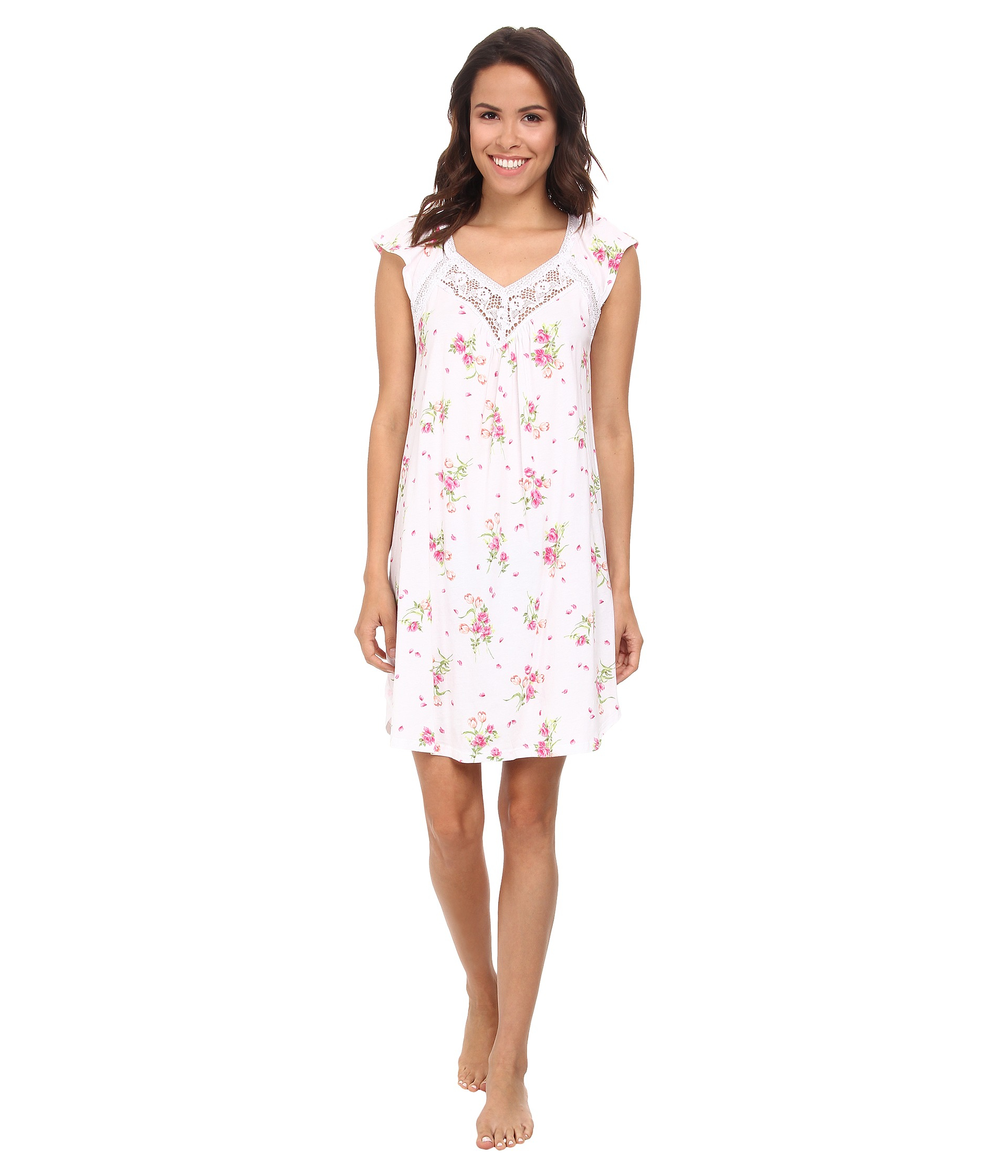Lyst - Carole Hochman Floral Print Short Gown in White