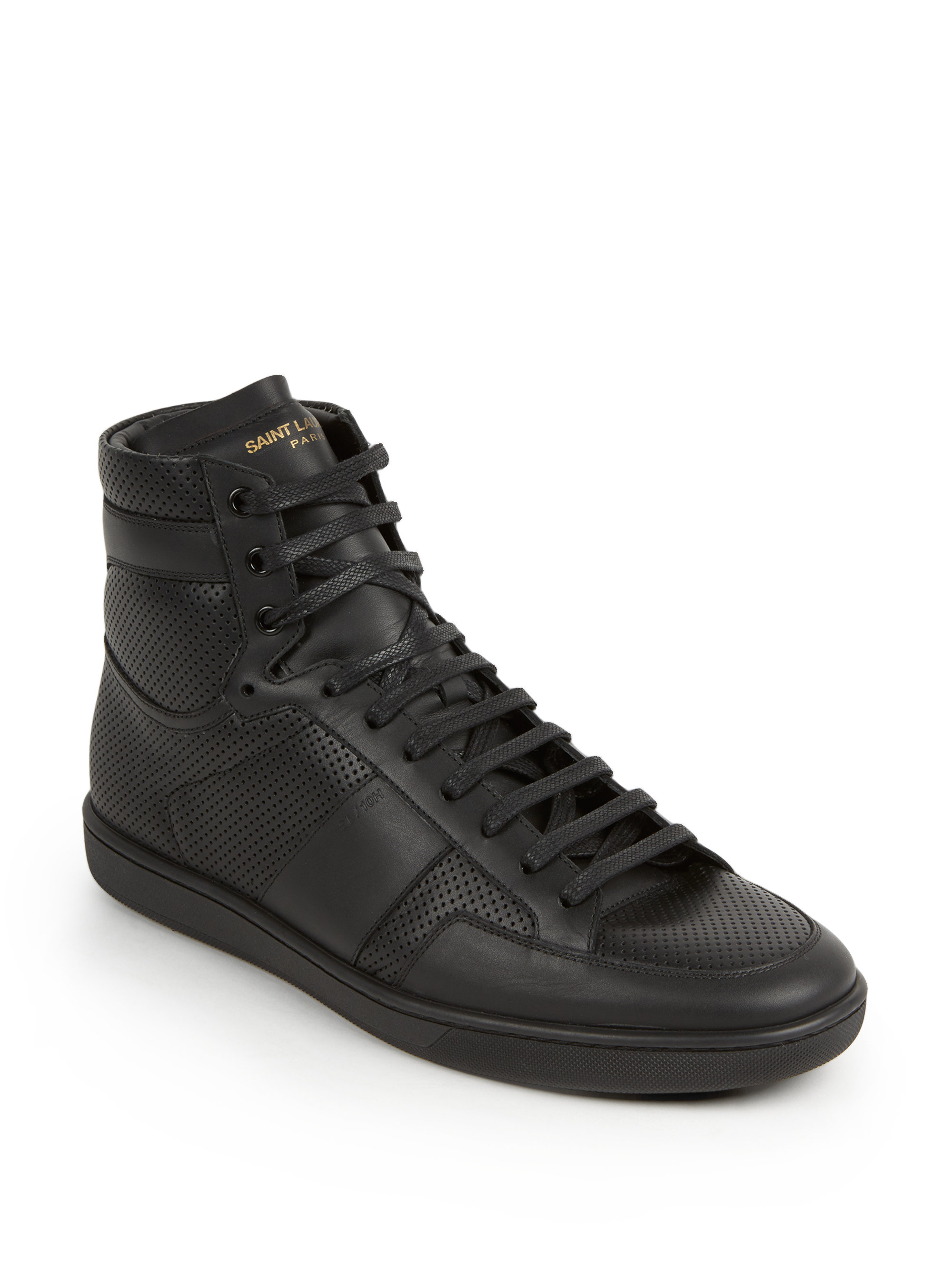 saint laurent tonal perforated leather high top sneakers in black for men lyst. Black Bedroom Furniture Sets. Home Design Ideas