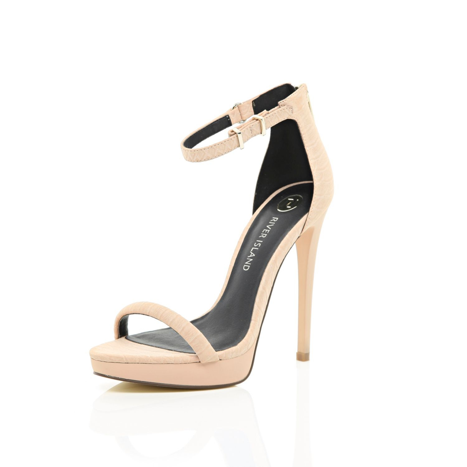 River Island Womens Nude barely there platform sandals TIrvad