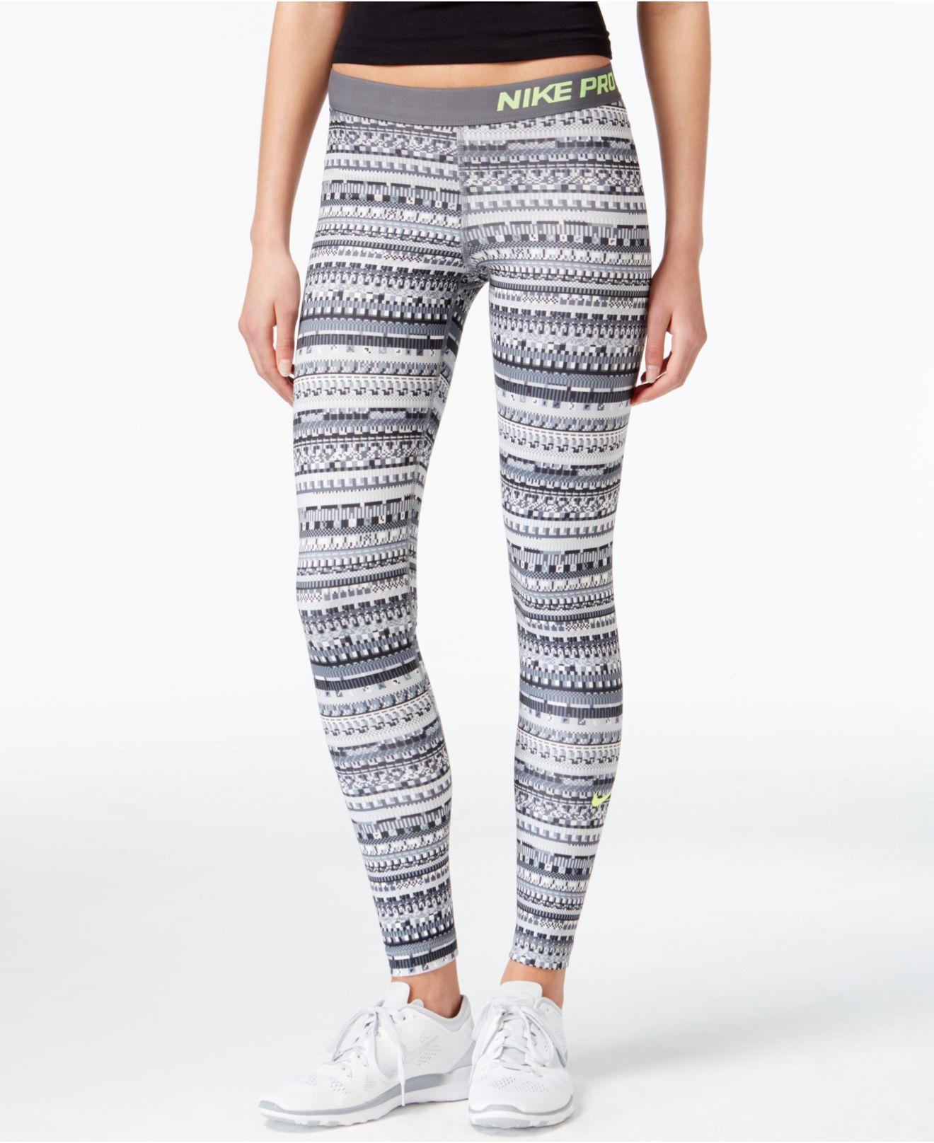 nike pro hyperwarm printed dri fit leggings in gray lyst. Black Bedroom Furniture Sets. Home Design Ideas