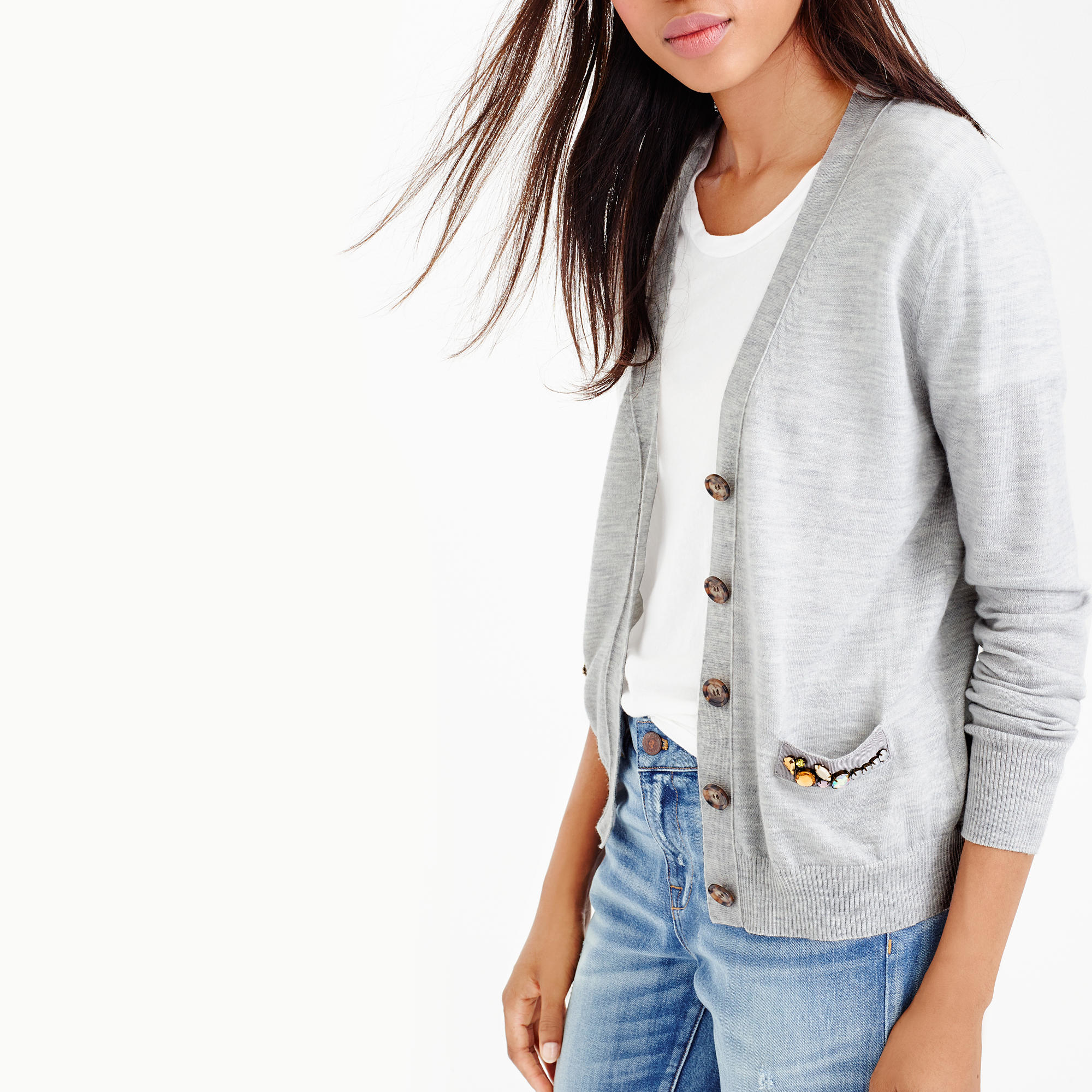 J.crew V-neck Cardigan Sweater With Embellished Pocket in Gray | Lyst