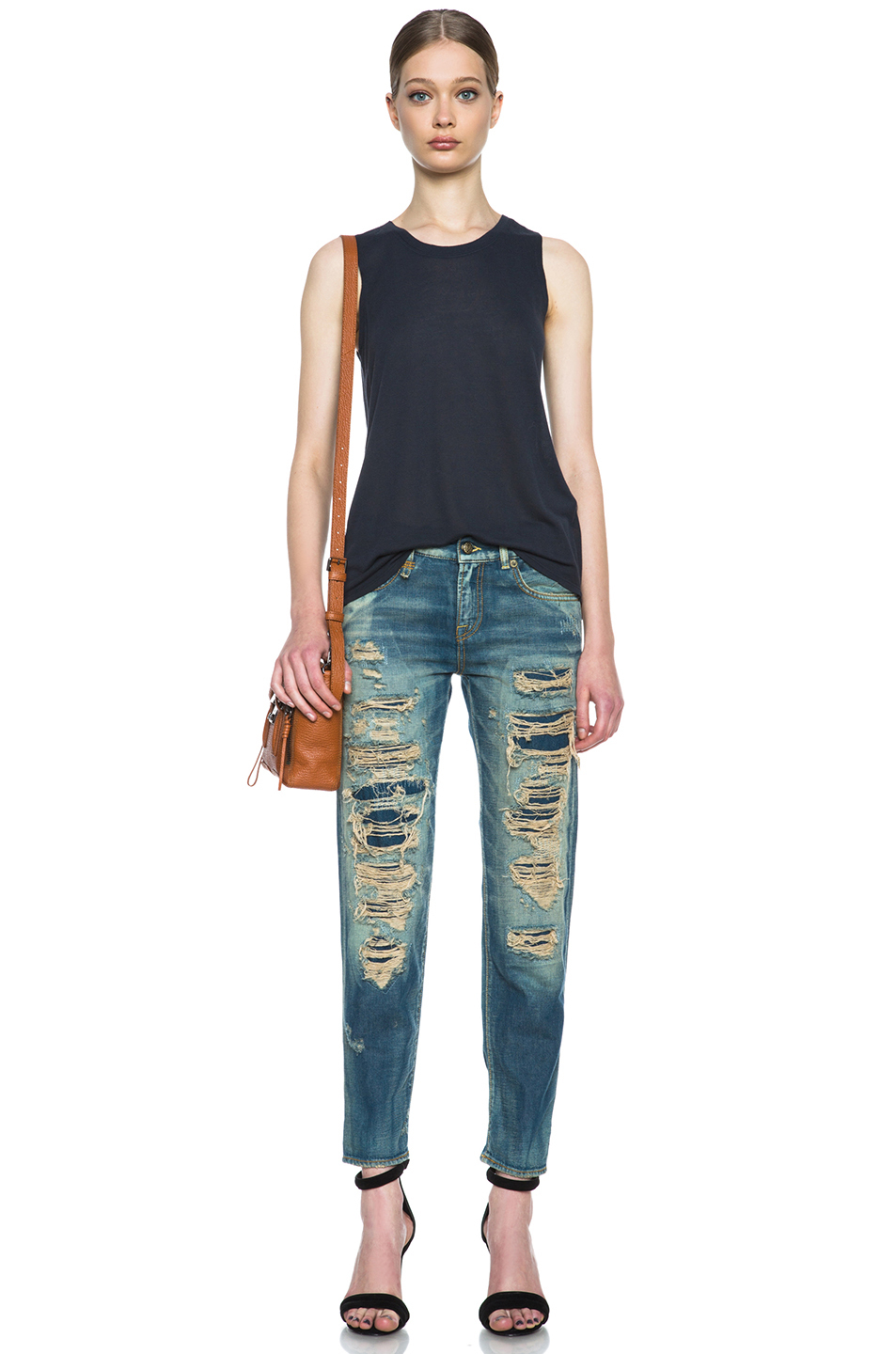 89320fdcefcdfc R13 Super Destroyed Relaxed Skinny in Blue - Lyst