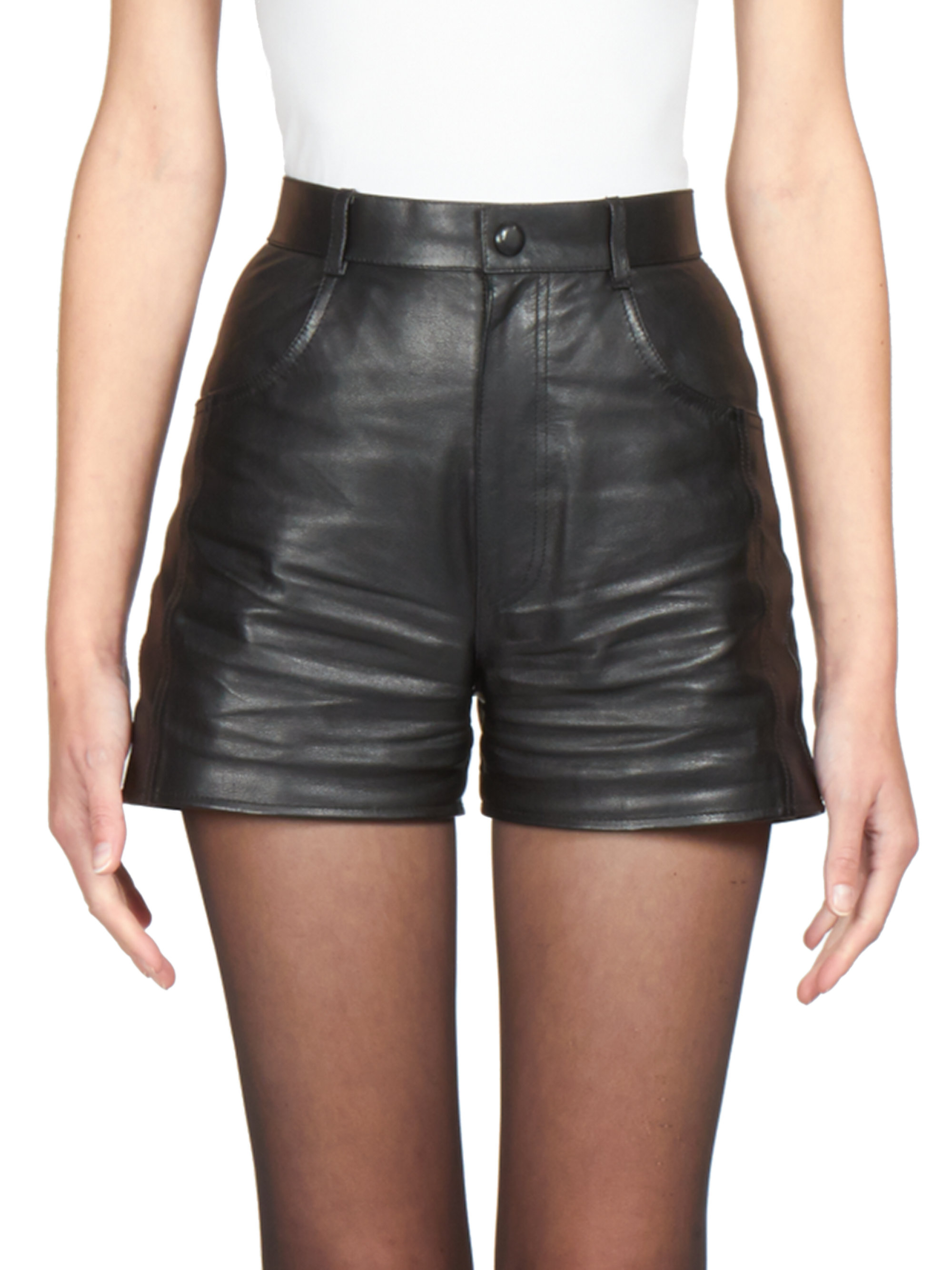 Saint laurent Leather High-waist Shorts in Black | Lyst
