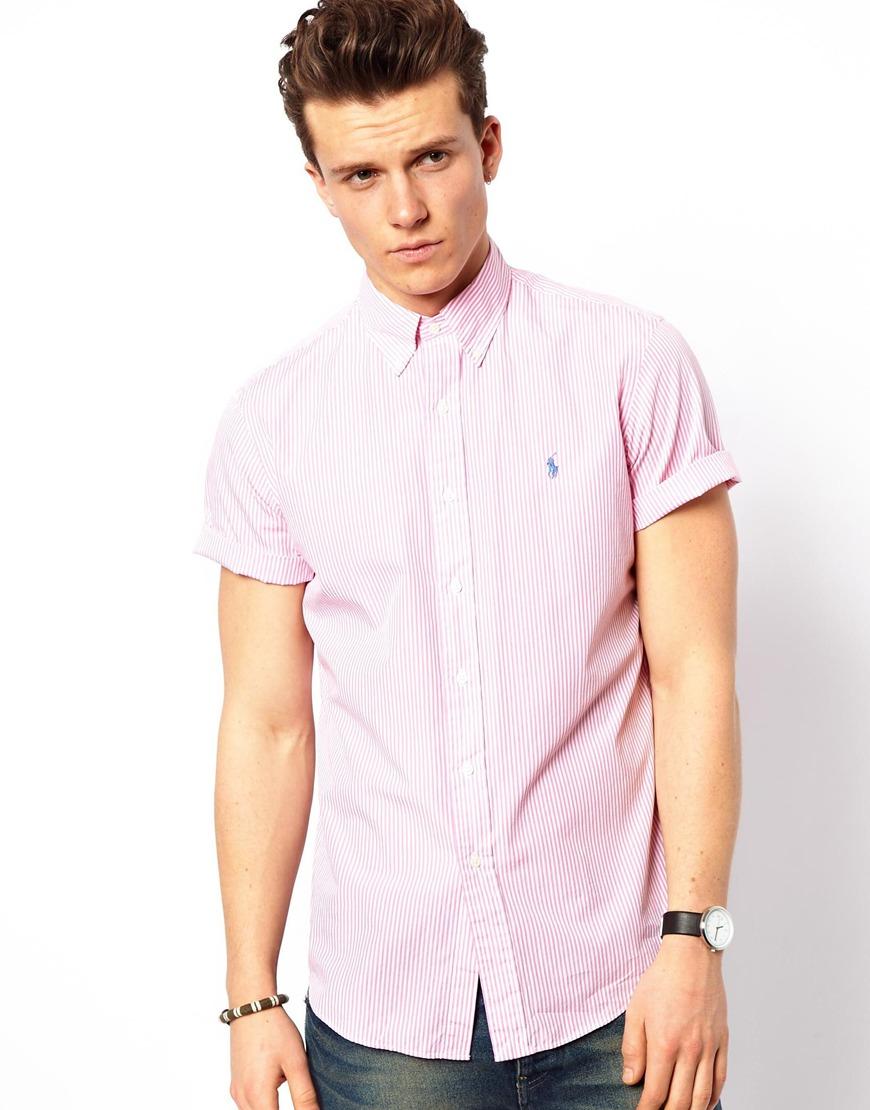 Polo Ralph Lauren Shirt In Poplin Stripe Short Sleeve