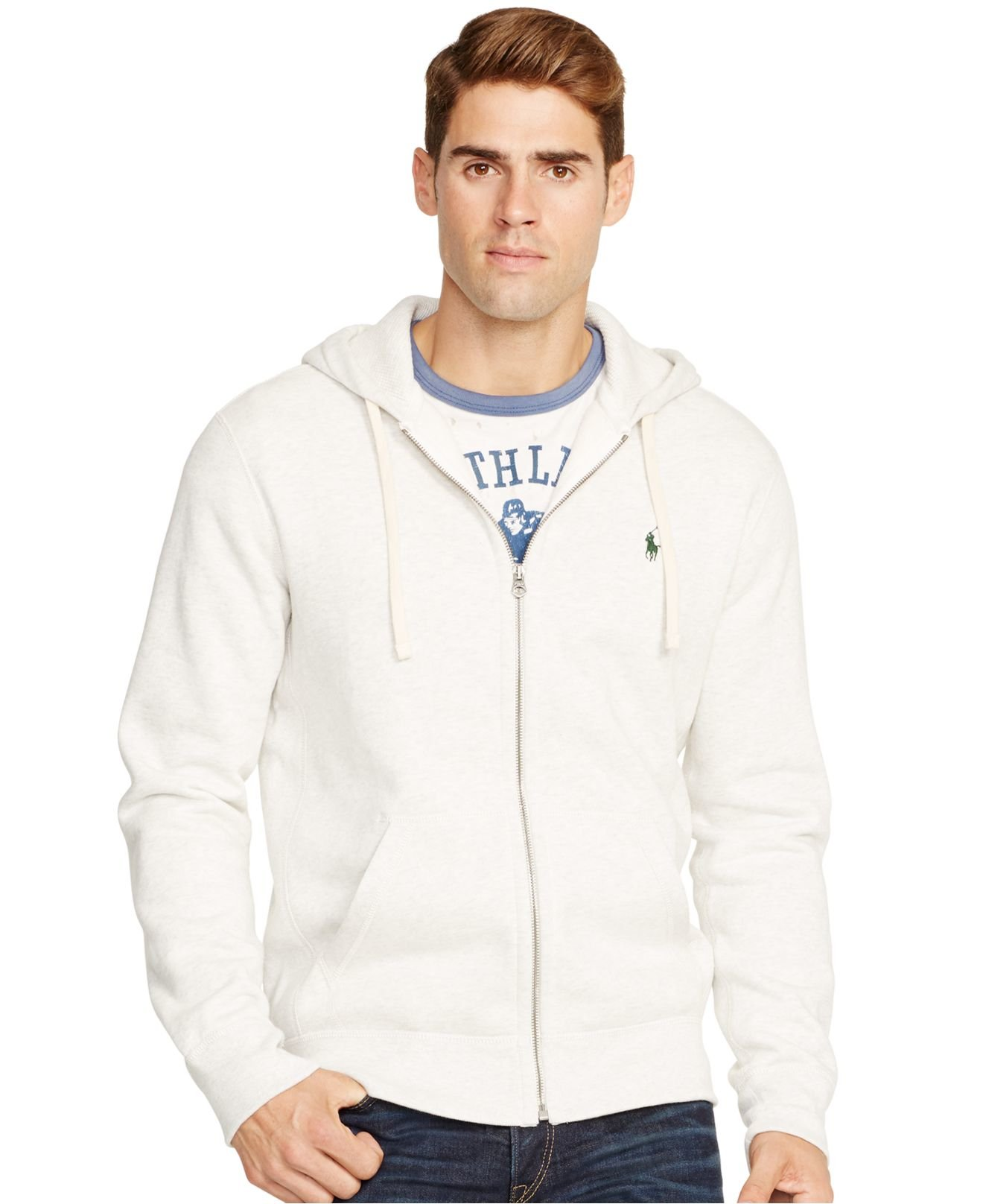 Polo ralph lauren Full-zip Hoodie in White for Men | Lyst